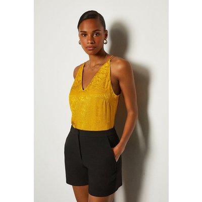 Karen Millen Animal Jacquard Cami, Yellow