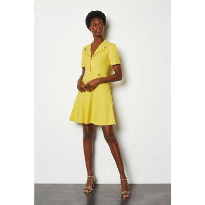Karen Millen Zip Placket Short Sleeve A-Line Dress, Yellow