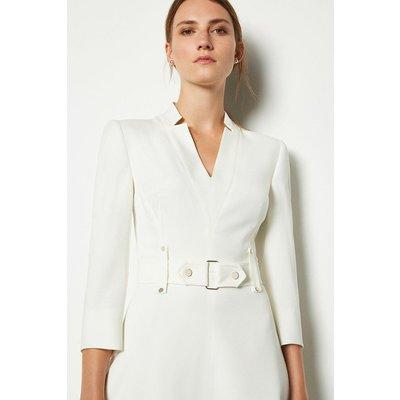Karen Millen Forever Cinch Waist A-Line Dress, Ivory