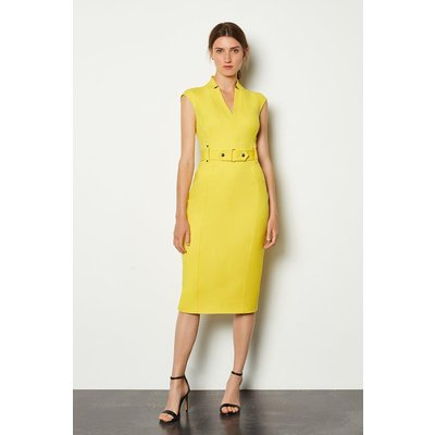 Karen Millen Forever Cinch Waist Cap Sleeve Pencil Dress, Yellow