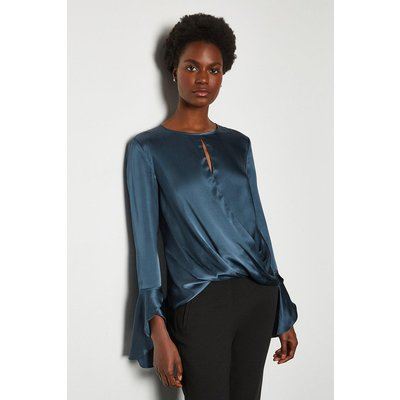 Karen Millen Silk Satin Draped Blouse, Blue