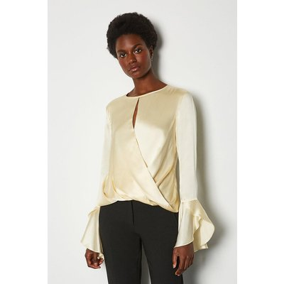 Karen Millen Silk Satin Draped Blouse, Ivory