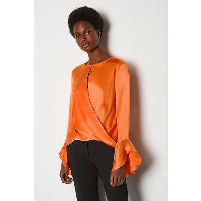 Karen Millen Silk Satin Draped Blouse, Orange