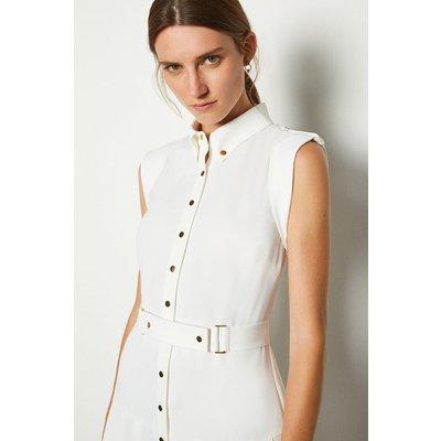 Karen Millen Soft Military Flippy Belted Dress, Ivory