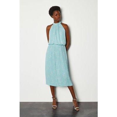 Karen Millen High Neck Spot Midi Dress, Blue