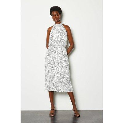 Karen Millen High Neck Spot Midi Dress, White