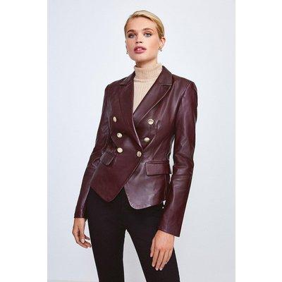 Karen Millen Leather Button Blazer -, Fig