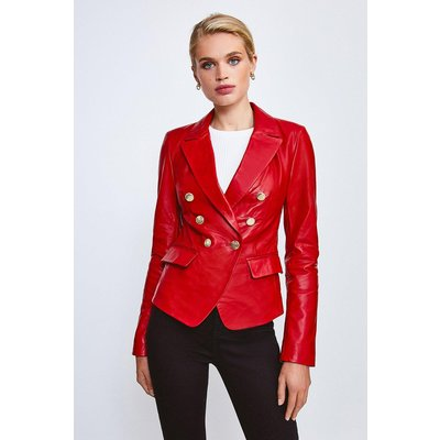 Karen Millen Leather Button Blazer -, Red