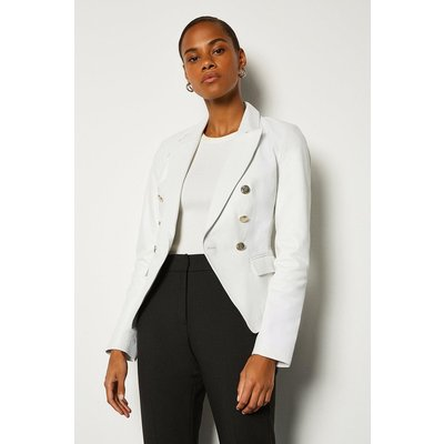 Karen Millen Leather Button Blazer, White