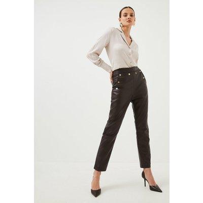 Karen Millen Leather Button Detail Trouser -, Fig