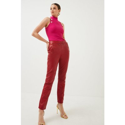 Karen Millen Leather Button Detail Trouser, Red