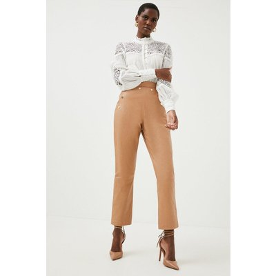 Karen Millen Leather Button Detail Trouser, Tan
