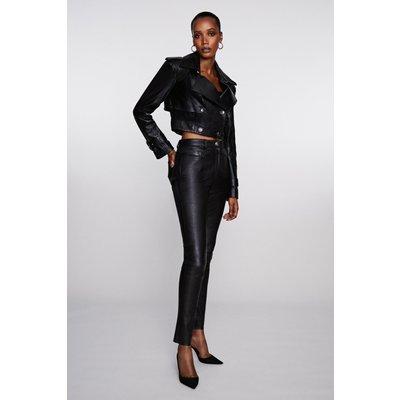 Karen Millen Stretch Leather Slim Leg Trouser, Black