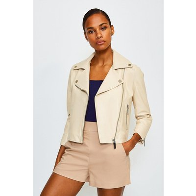 Karen Millen Shrunken Leather Biker Jacket, Beige