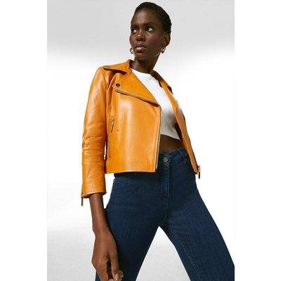 Karen Millen Shrunken Leather Biker Jacket -, Orange