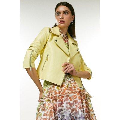 Karen Millen Shrunken Leather Biker Jacket -, Yellow