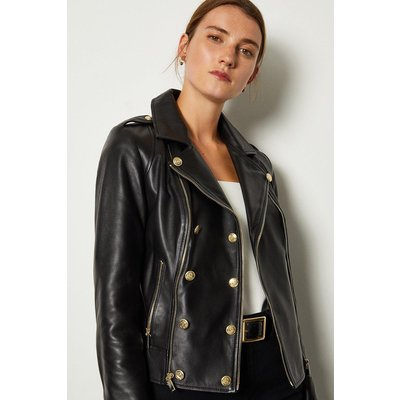Karen Millen Military Leather Biker, Black