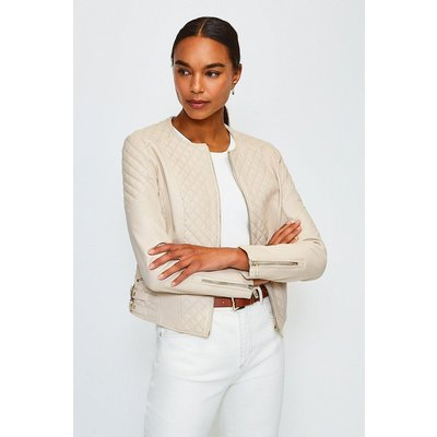 Karen Millen Leather Quilted Biker Jacket, Beige