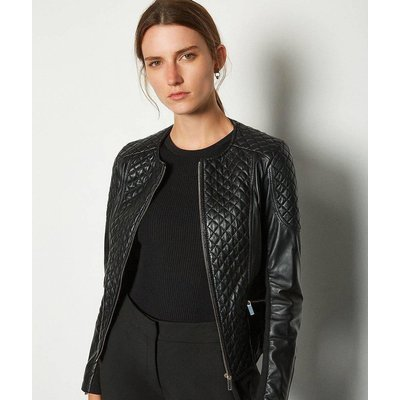 Karen Millen Leather Quilted Biker Jacket, Black