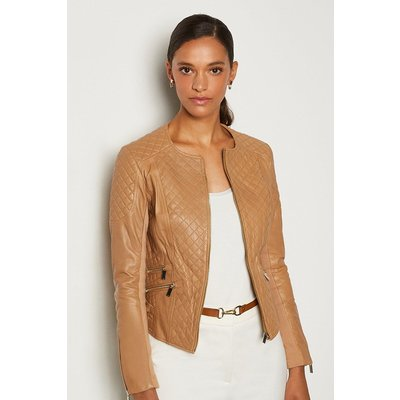 Karen Millen Leather Quilted Biker Jacket, Tan