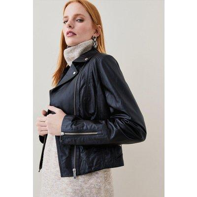 Karen Millen Leather Signature Biker Jacket -, Black