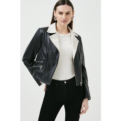 Karen Millen Leather Signature Biker Jacket, Blackwhite