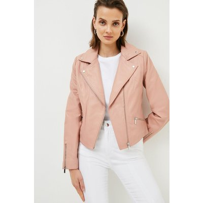 Karen Millen Leather Signature Biker Jacket, Pink