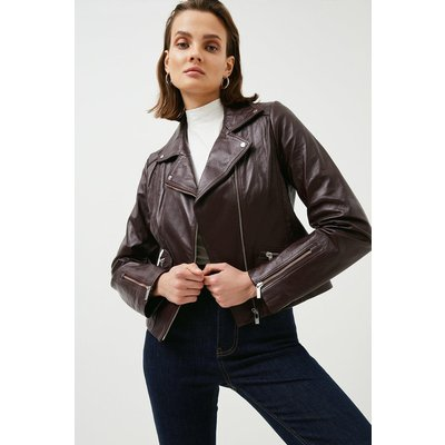 Karen Millen Leather Signature Biker Jacket, Fig