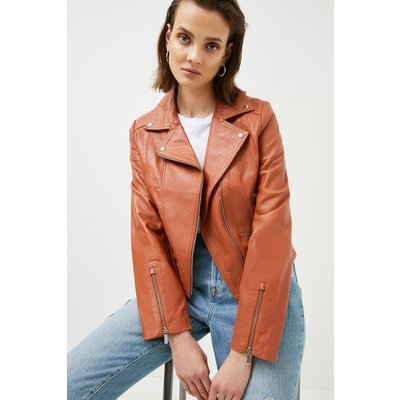 Karen Millen Leather Signature Biker Jacket, Light Brown