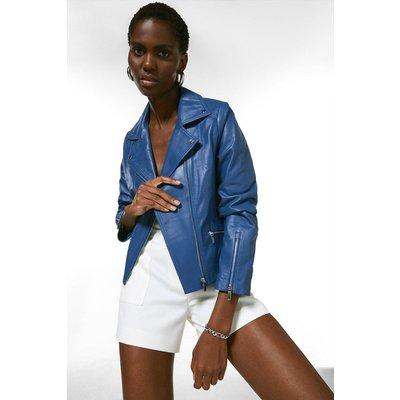 Karen Millen Leather Signature Biker Jacket -, Mid Blue