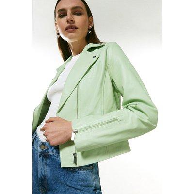 Karen Millen Leather Signature Biker Jacket -, Green