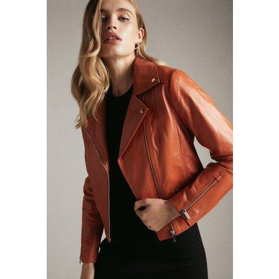 Karen Millen Leather Signature Biker Jacket -, Orange