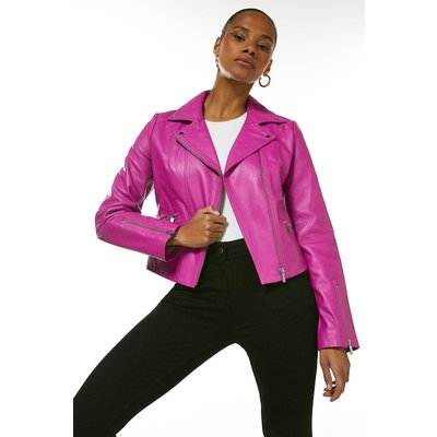 Karen Millen Leather Signature Biker Jacket -, Navy