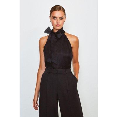 Karen Millen Silk Organza Halter Neck Top, Black