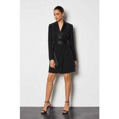 Tuxedo Wrap Dress Black, Black
