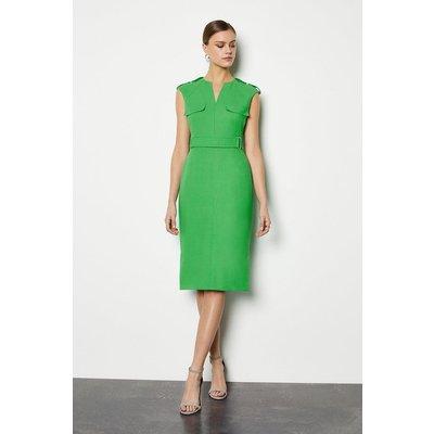 Karen Millen Square D Ring Pencil Dress, Green