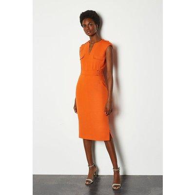Karen Millen Square D Ring Pencil Dress, Orange