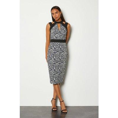 Karen Millen Zebra Jacquard Cut Out Pencil Dress, Blackwhite