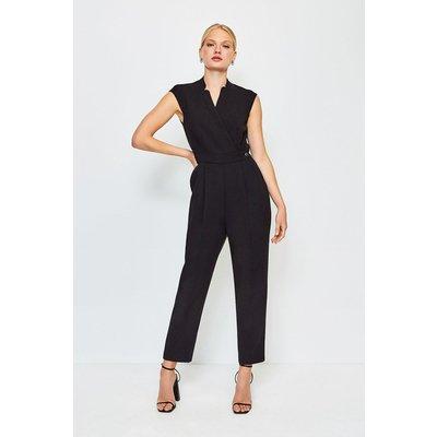 Karen Millen Wrap Collar Sleeveless Jumpsuit, Black