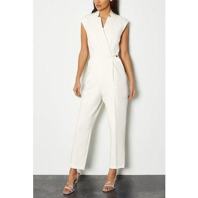 Karen Millen Wrap Collar Sleeveless Jumpsuit, Ivory