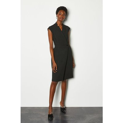Karen Millen Collar Wrap Sleeveless Midi Dress, Black