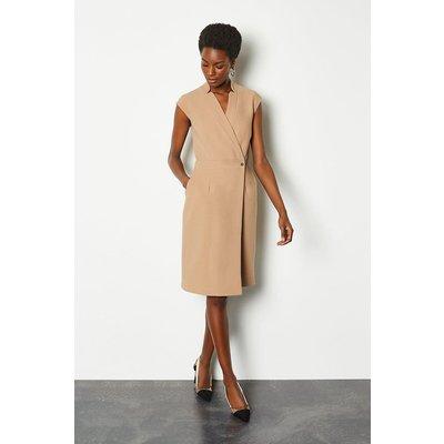 Karen Millen Collar Wrap Sleeveless Midi Dress, Camel