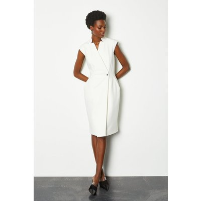Karen Millen Collar Wrap Sleeveless Midi Dress, Ivory
