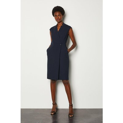 Karen Millen Collar Wrap Sleeveless Midi Dress, Navy