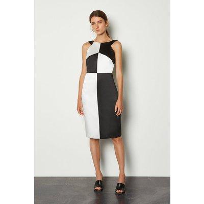 Karen Millen Halter Neck Colour Block Pencil Dress, Mono