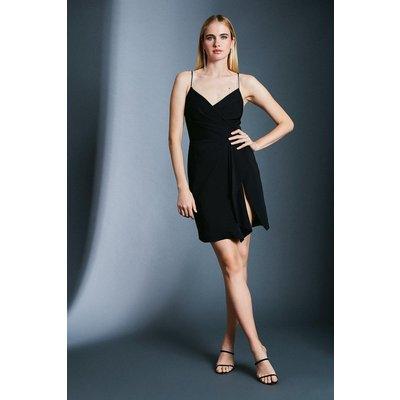 Karen Millen Strappy Wrap Bodice Ruffle Skirt Dress, Black