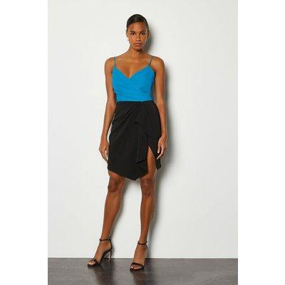 Karen Millen Strappy Wrap Bodice Ruffle Skirt Dress, Blue