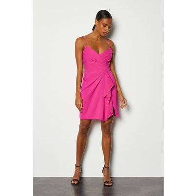 Karen Millen Strappy Wrap Bodice Ruffle Skirt Dress, Navy