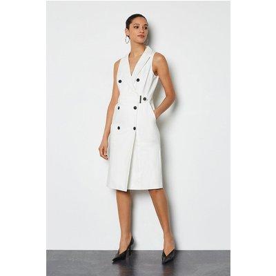 Karen Millen Sleek And Sharp Tailoring Dress, Ivory