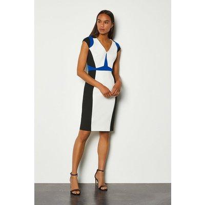 Karen Millen Colour Block Cap Sleeve Shift Dress, Blue